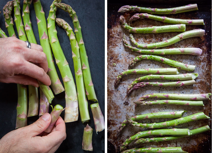 Snap off the ends of the asparagus. Place on a rimmed roasting pan and then toss with the olive oil, salt and pepper.