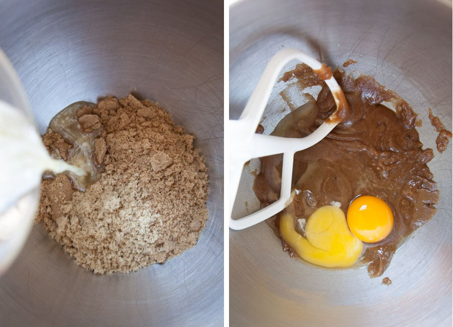 beat the butter, vanilla and brown sugar together. Then add the egg and egg yolk.