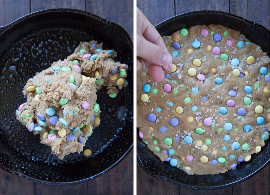 scrape dough into the skillet then press down and cover entire pan. Sprinkle flaky salt over cookie dough.