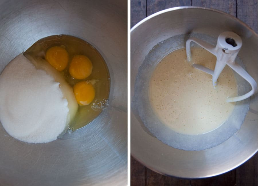 beat eggs and sugar together until light in color.
