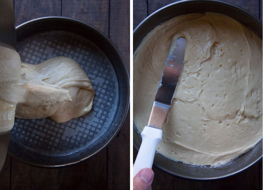 pour batter into pan, then spread evenly.