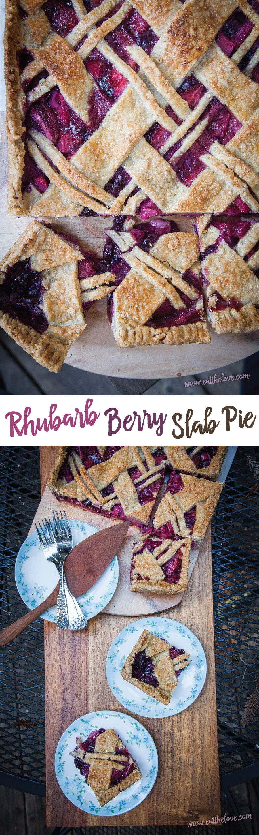 This Rhubarb Berry Slab Pie is great for potlucks and for crowds! #rhubarb #slabpie #recipe #pie #berries #strawberries