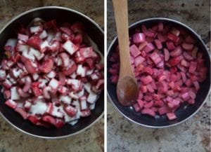 Slightly cook rhubarb to release some juices.