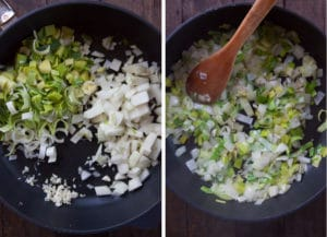 Cook the aromatics until the onions start to turn translucent