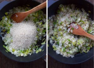 Cook the rice until it starts to turn translucent.