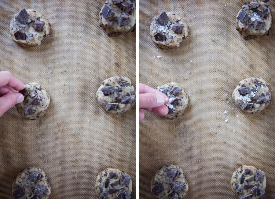 press chocolate on top, then sprinkle salt on them.