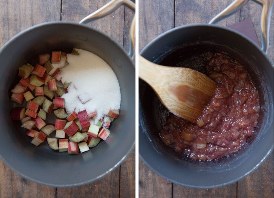 place the rhubarb and sugar in a saucepan and cook until the rhubarb falls apart.