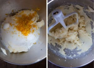 cream butter, sugar, lemon zest, baking soda, baking powder and salt together.