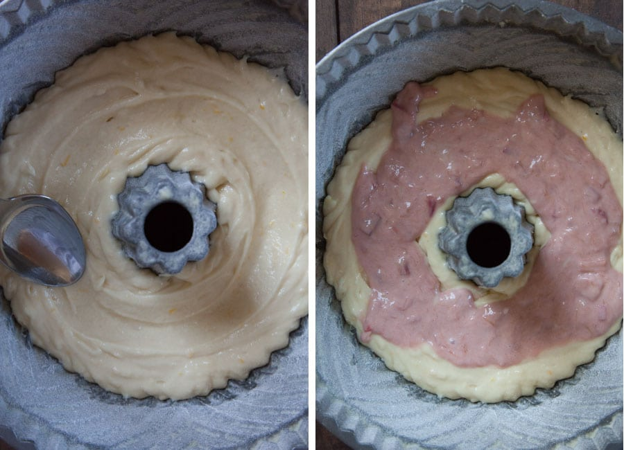 spoon in cake batter, then rhubarb swirl.