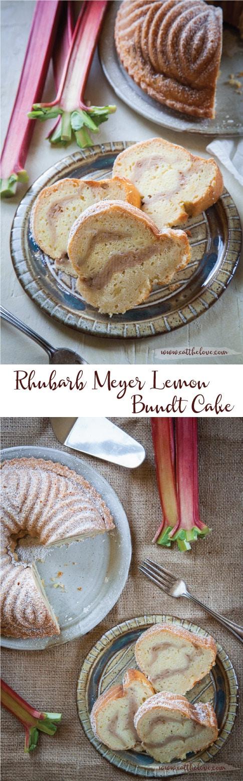 Rhubarb Meyer Lemon Bundt Cake. #bundt #rhubarb #meyerlemon #bundtcake #lemoncake #rhubarbcake #citrus #lemon
