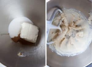 cream together the sugar, cream cheese and vanilla.