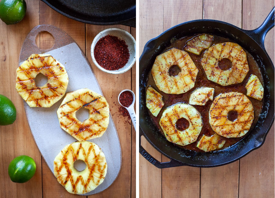arrange pineapples in pan on the caramel.