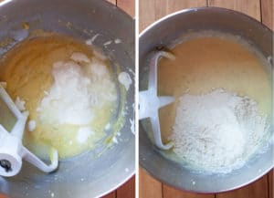 add the yogurt. mix then add the flour and mix until absorbed.