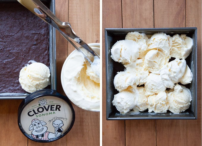 scoop out ice cream over the chilled brownies