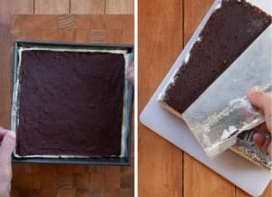 Remove frozen ice cream brownie from pan with parchment paper. Peel off paper.