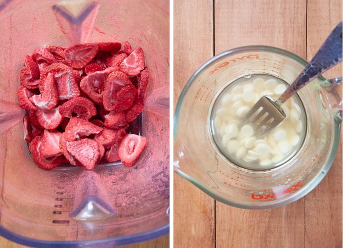 crush the freeze dried strawberries in a blender or food processor. Melt the white chocolate and coconut oil.