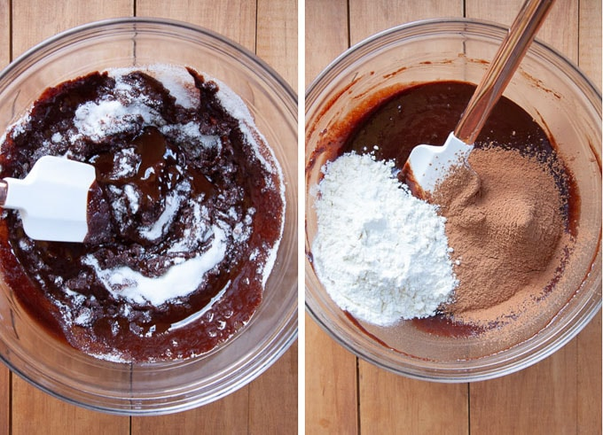 stir in sugar, then eggs, then flour and cocoa.