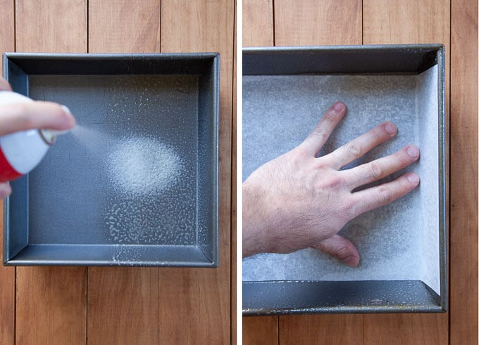 spray and line baking pan with parchment paper