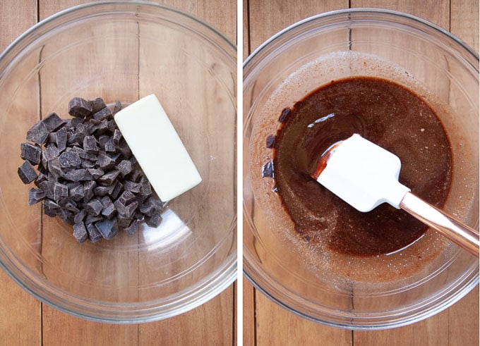 melt chocolate and butter in microwave