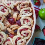 Apple Berry Cobbler with Strawberry Cinnamon Swirl Biscuits.