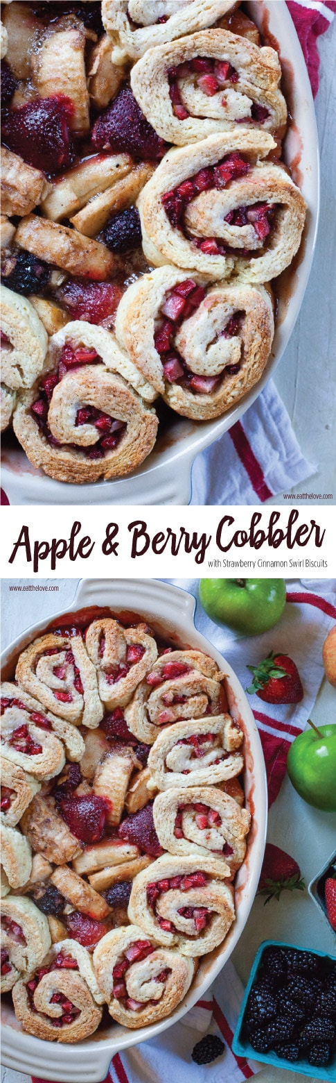 Apple Berry Cobbler with Strawberry Cinnamon Swirl Biscuits. #cobbler #strawberries #apples #baking #recipe #appleberry #crisp #dessert #fallbaking #applecobbler #berrycobbler #cinnamonrolls #strawberrybiscuits