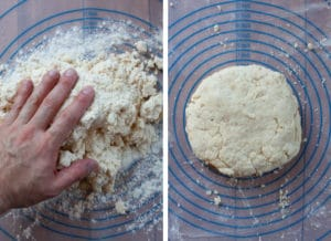 Dump the biscuit dough onto a clean surface and gently knead into a dough forms