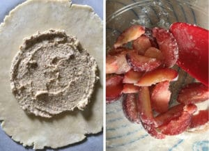 Spread the frangipane on the crust, then toss the fruit with the filling ingredients.