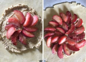 Arrange plums on top of the frangipane filling in a concentric circles.