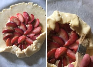 Fold over the crust, then brush with egg wash.