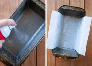 spray the pan and then line with parchment paper