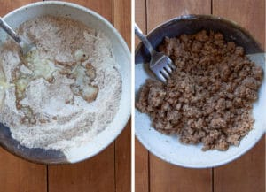 make the crumb by mixing the dry ingredients together first, then toss with melted butter until clumps form.