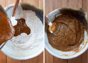 Fold the wet ingredients into the dry ingredients.
