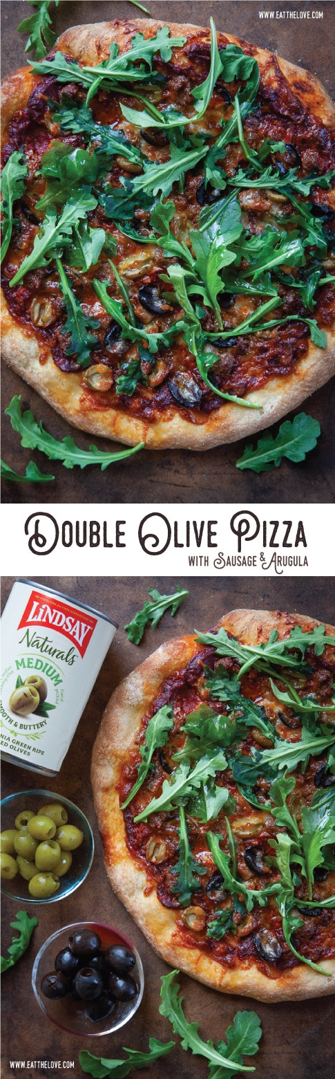 Double Olive Pizza with Sausage and Arugula. #pizza #olives #arugula #olivepizza #easy #fast #dinner #meal #quick #weeknight #supper #fromscratch #recipe #sausage #homemade