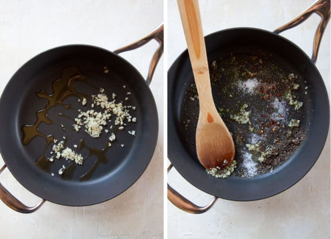 make the sauce by saute the garlic in olive oil and then adding the spices.