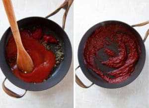 add the tomato sauce and paste and then cook until thickened and darkened, about 10 minutes.