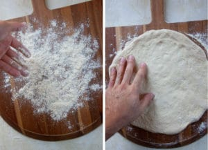 Stretch out the pizza dough on a dusted pizza peel.