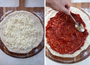 add 3 ounces of cheese then the pizza sauce over the cheese.