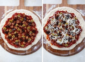 add the sausage and olives, then the remaining cheese onto the pizza.