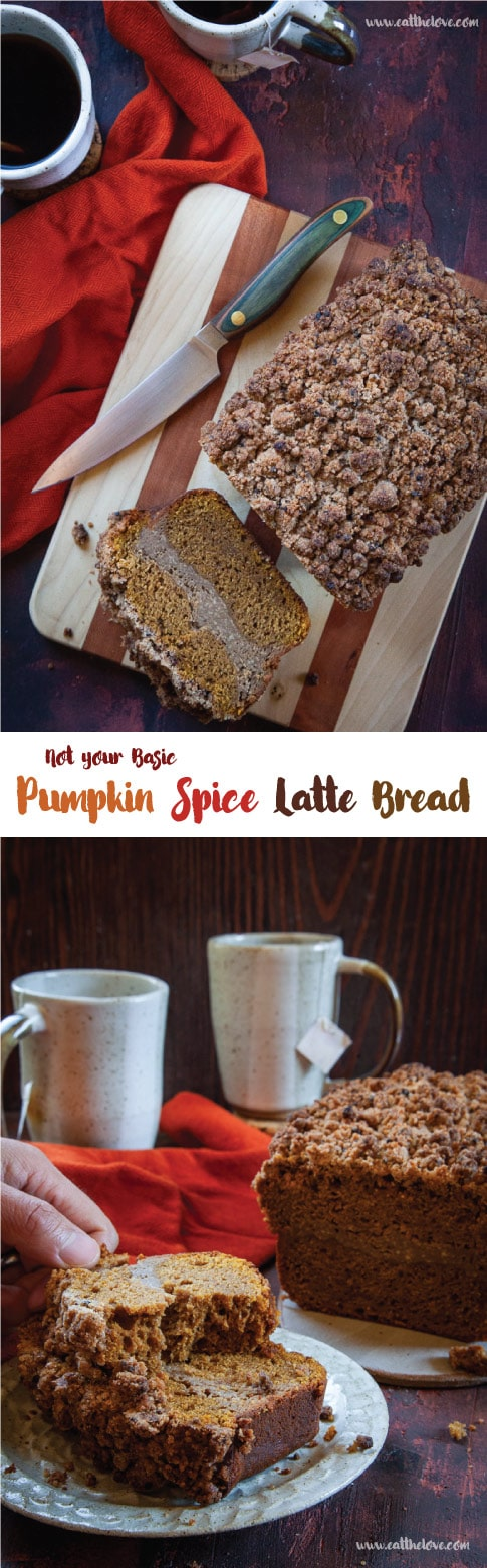 This Pumpkin Spice Latte Bread is nothing but basic. It has a coffee cream cheese filling and coffee crumb topping that is just extraordinary! #coffeebread #coffeecake #quickbread #pumpkinbread #PSL #pumpkinspice #pumpkinspicelatte #pumpkinspicebread #pumpkinspicelattebread #pumpkinrecipe #fallbaking #autumnbaking #pumpkinpiespice #pumpkinbreadrecipe #recipe #baking