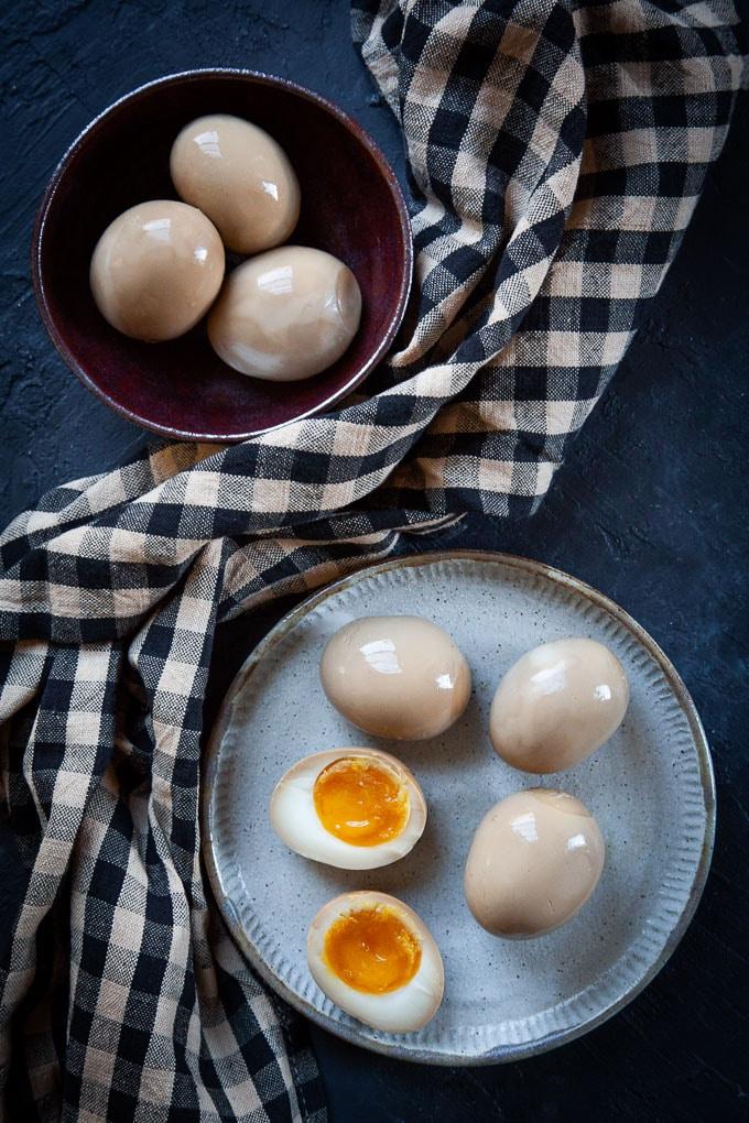 Soy sauce ramen eggs.