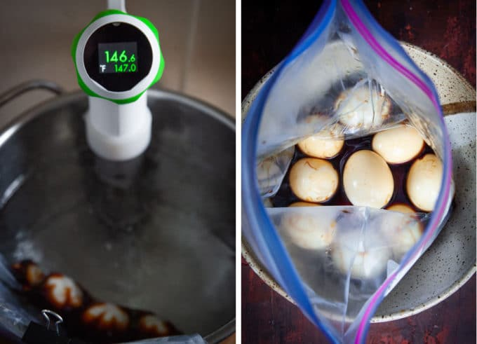 sous vide the eggs for an hour or just leave them in the bag overnight.