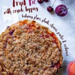 Summer Fruit Pie with Crumb Topping is packed with plums, peaches and cherries.