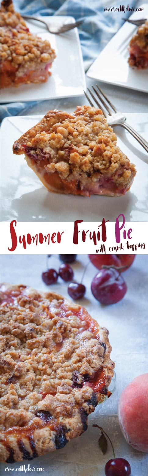 Summer Fruit Pie with Crumb Topping filled with summer stone fruit like plums, pluots, nectarines, peaches and cherries.