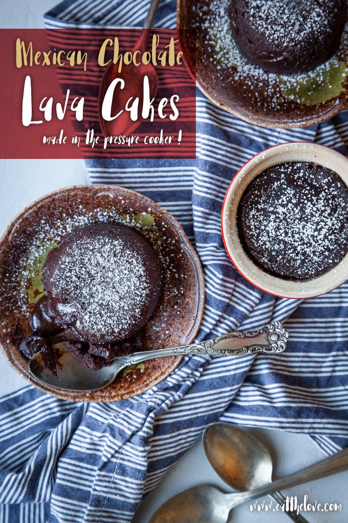 Mexican Chocolate Lava Cakes made in a pressure cooker!
