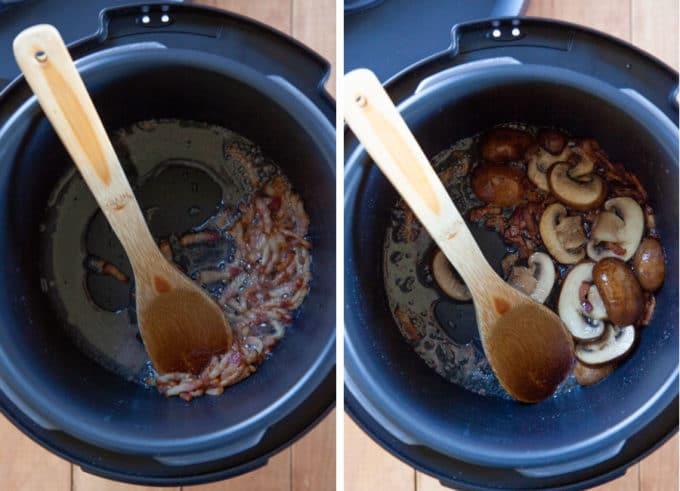 saute bacon, then mushrooms.