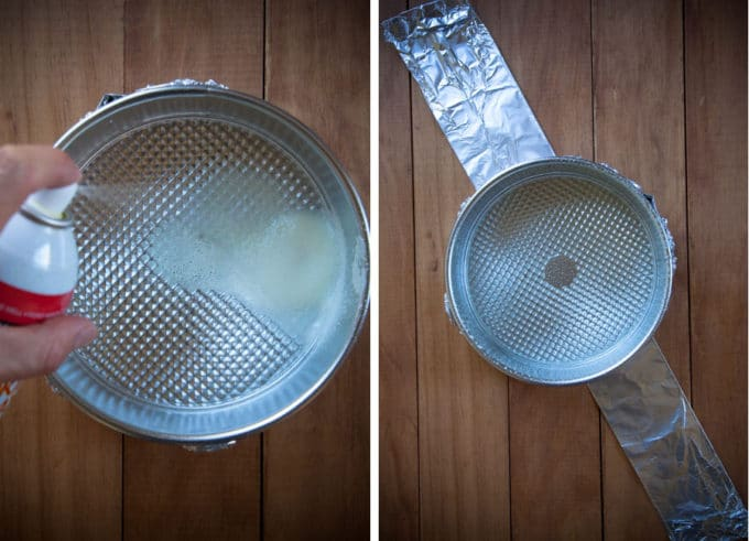 spray the pan with cooking oil, then place on top of a long strip of aluminum foil.
