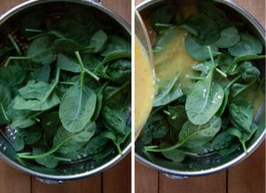 Add all the spinach, then pour eggs on top, and press down with spoon to make sure all spinach is submerged.