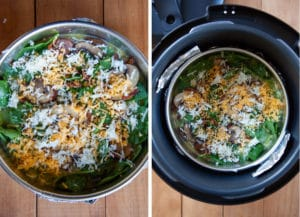 Sprinkle remaining bacon, mushroom, cheese, then move to inside of Crock-Pot with the aluminum foil sling.