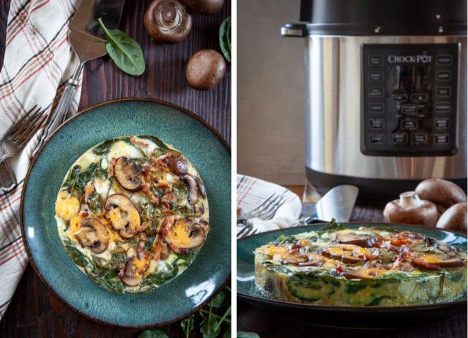 Bacon Mushroom Spinach Frittata.