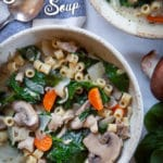 Chicken Florentine Soup with mushrooms and carrots.